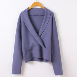 2017 autumn and winter high quality new products deep v-neck sweater pure color loose knit sweater blouse