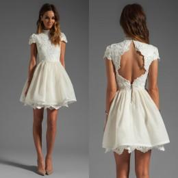 Short Party Dresses 2015 High Neck Wedding Dresses Backless Short Prom Dresses Capped Sleeves Vintage Wedding Party Dresses with Appliques