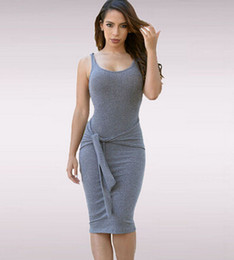 Wholesale-O-neck Tie Front Knitted Ladies Casual Dress Sexy Bodycon Dress Midi Party Women Dresses Night Sexy Club Dress Vestidos