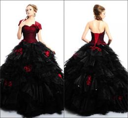 Wholesale 2016 Glamorous Quinceanera Robes Bourgogne et noir Boule de mascarade Robes Sweatheart avec fleurs à la main filles robes de bal avec Jacket