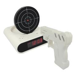 Wholesale Novelty Gun Alarm Clock Gun O clock Shooting Game Cool Gadget Toy Novelty with Laser Target
