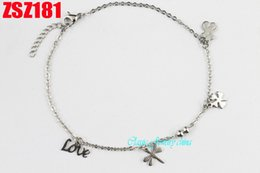 Wholesale Stainless steel bracelet footchain Anklets chains Women lady girl Mother s Day gift Little bear dragonfly Lucky grass love bead ZSZ181