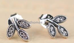 925 Sterling Silver Sparking Leaves Stud Earrings with Clear Cubic Zirconia Fits European Pandora Style Charms Jewelry