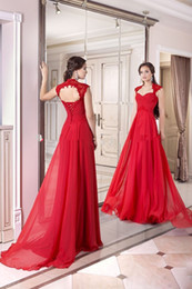 New Backless Red Evening Dresses Cap Sleeve Sweetheart Lace Chiffon A-Line Floor Length Long Prom Gowns Custom Made E200