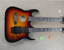 The Wholesale-2015 Hot Sale Customized Two-neck Tobacco Sunburst Electric Guitar with a 6-String Guitar and a Hollow Guitar