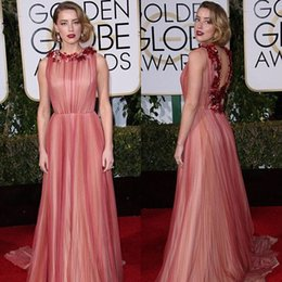 Wholesale Elegant Golden Globe Awards Evening Gowns Amber Heard Celebrity Dresses Floral Jewel Neck Backless A Line Sweep Train Rose Pink Tulle