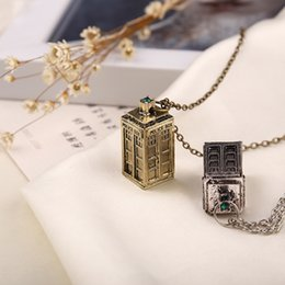 Wholesale Free DHL shipping Dr Mysterious ancient silver TARDIS necklace Doctor Who necklace FK01 TARDIS necklace Movies