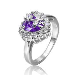 New Fashion Colorful Cubic Zirconia Heart Gemstone Rings Hand-made Promise Engagement Wedding Rings for Women R025