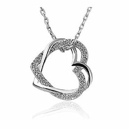 Beautiful Fashion Jewelry Silver Gold Plated Different Color Crystal Rhinestone Double Heart Necklace Pendant Fashion Jewelry