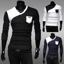 Le commerce de la peau en Ligne-2015 nouvelle poche de couleur printemps poche apposée sur la marque de la peau slim casual manches longues T-shirt hommes