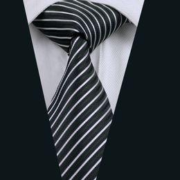 Black White Stripe Necktie for Men Jacquard Woven Silk Tie Business Police 8.5cm Width Necktie D-0394