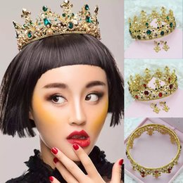 Wholesale Duchess Maria Russia Sweden Chic Regal Vintage Kings Gold Plated Green Rhinestones Royal Crowns For Wedding Prom Parties Crown Earring