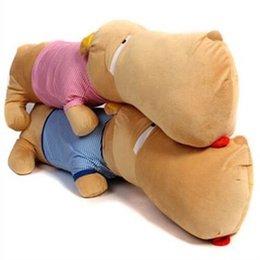 Свободный материал собаки для продажи-Большая голова собаки Плюшевые игрушки куклы ложь прона подушки подушки собаки Симпатичные щенки фаршированные животные Бесплатная доставка
