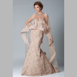 Wholesale Shawls For Gowns - Long Elegant Lace Sweetheart Formal Evening Gowns For Wedding Mermaid Gorgeous Mother of the Bride Groom Dresses With Shawl