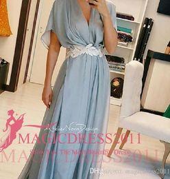 Elegant Sky Blue Evening Dresses Short Sleeve Chiffon Arabic Prom Formal Gowns 2019 Occasion Dress A-Line V-Neck Celebrity Custom Made