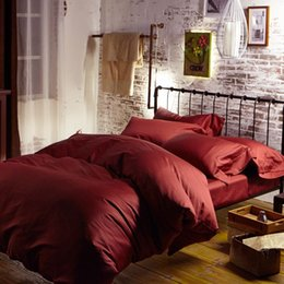 Luxury 100% Egyptian cotton bedding sets bed sheets Brown Red queen duvet cover king size double quilt doona bedspread linen 60 4pcs bedclot