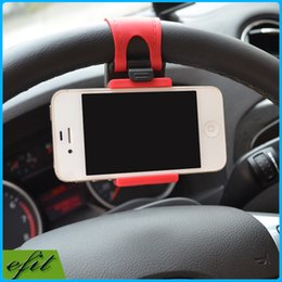 Wholesale DHL Universal Car Steering Wheel Mount Phone Socket Holder Rubber Band For iPhone S S Plus Galaxy S6 Note A5 Z3 T3 Mate GPS