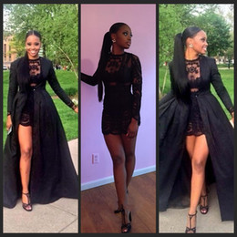 Sexy Two Piece See Through Black Lace And Taffeta Short Prom Dress Long Sleeves Detachable Coat Floor Length evening Pageant Dress