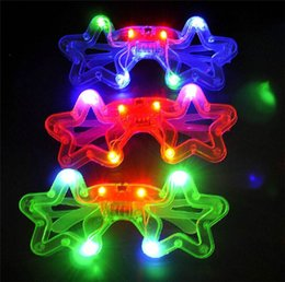 Wholesale Blinking LED Star Eye glasses Party Light Up Flashing Novelty Gift