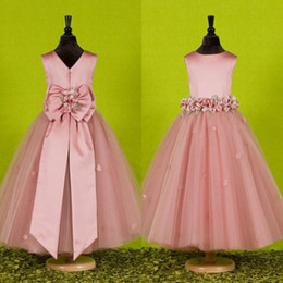 Beautiful Pink Flower Girls Dresses for Weddings 2016 Custom Made Pretty Formal Girls Gowns Satin Tulle Birthday Pageant Party Dresses