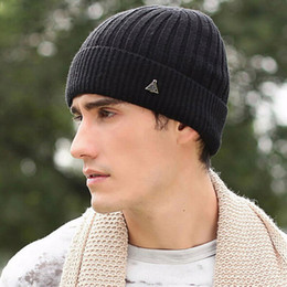 Wholesale Men Knit Hat Mills Worsted Wool Ribbed Beanie Fleece Caps Fall Winter Sports Outdoor knitting Skull Hats Fashion Watchcap for Man Color