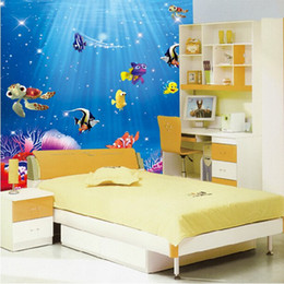 Wholesale Funny Beautiful Ocean Sea Fish Vinyl Removable Mural Wall Sticker Kids Room Bathroom DIY Decor