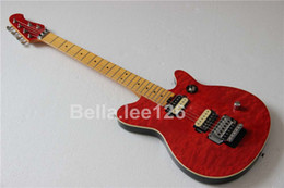 Wholesale red quilted top 6 string guitar,maple neck,tremelo system,single control,classical music instrument guitar electric
