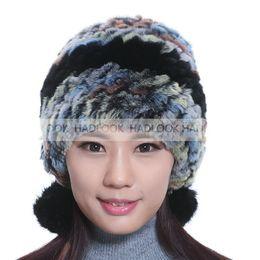 Women Russian Women Natural Fur cap Luxury knit Rabbit fur hat winter fur Hats Female Warm Caps Headgea