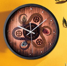 Wholesale Ancient three dimensional snake myth is retro rust gear wall clock creative wall clocks in stock