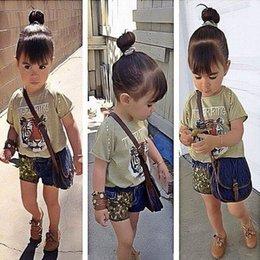 Wholesale 2015 Summer New Children Clothing Girl Sets Tiger Short Sleeve T shirts Denim Shorts Fashion Sets Y Not Have Bag