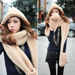 Wholesale Cute Cartoon Fleece Women Hoodie Gloves Pocket Earflap Hat Long Scarf Shawl Snood Wraps Colors for Your Choice