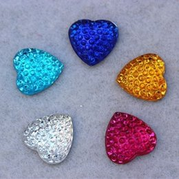 200PCS 16mm Heart Resin Rhinestones Flat Back Beads Circle Crystal Beads ZZ127