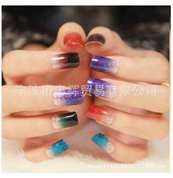 Wholesale-Nail Art Sticker Colorful Gradual change Glitter Textured Gradient color Series Nail Stickers, 15 designs, 10 pieces   bag
