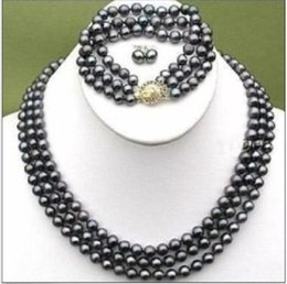 Wholesale 2015 ELEGANT ROWS BLACK MM TAHITIAN PEARL NECKLACE BRACELET EARRING SET