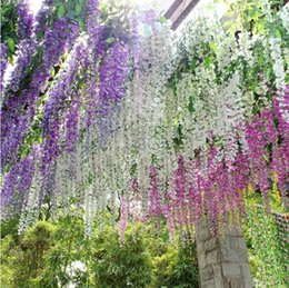 Wholesale - 2014 Hot Sale Silk Flower Artificial Flower Wisteria Vine Rattan For Valentine's Day Home Garden Hotel Wedding Decoration