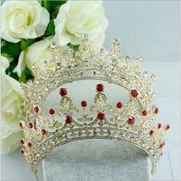 Red Clear Wedding Bridal Crystal Tiara Crowns Princess Queen Pageant Prom Rhinestone Veil Tiara Headband Wedding Hair Accessory