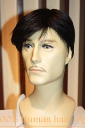 100% Real Natural human Hair Men Short wigs Full Virgin Black Wig Hairpiece Toupee RJ-412