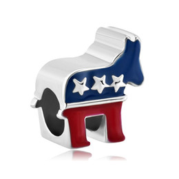 Hand Color Enamel The Donkey American Party USA Flag Beads Rhodium Plating Charms for European PANDORA charms DIY Bracelets