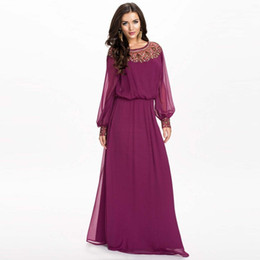 Wholesale-Women's Casual Summer Style Full Sleeve O-Neck Floor-Length Plus Size XXXL 4XL 5XL Embellished Off Shoulder Chiffon Maxi Dress