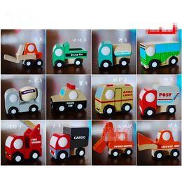 Wholesale 2016 kids boy creative wooden mini style cargos shovel ambulance car and so on children Christmas New Year birthday gift hot sale