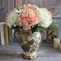 Hot Sale Real Touch Artificial Hydrangea flowers 14 colors Hand bouquet Home decorations for wedding party Table