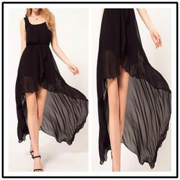 Irregular Chiffon Dress Beach Holiday Dresses Casual Irregular Sleeveless Black Chiffon Loose Women Lady Summer Evening Dress Skirt 66027#