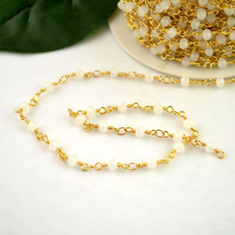 Wholesale DIY Meter Wire Wrapped Beaded Chains Gold plated Rosary chain White color faceted Crystal beads size mm jewelry making