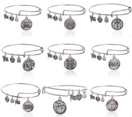 Wholesale 5PCS Lucky Letter Words Charm Bracelet Alex And Ani Expandable Wire Bangle laugh peace love USA cross grandmother etc For Women