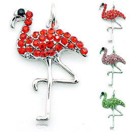 Hot Sell Fashion Floating Charm Alloy Lobster Clasp Rhinestone Flamingo Charms Pendants Jewelry Accessories