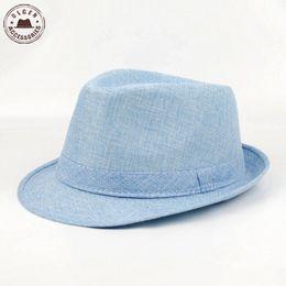 Wholesale-Men's Fedora Hat Summer Jazz Fedoras Hat For Men  classic linen fedora hat Wholesale [HUB154g]