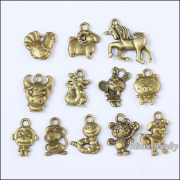 Wholesale 72 Vintage Charms Chinese Zodiac Pendant Antique bronze Fit Bracelets Necklace DIY Metal Jewelry Making10044 metal love charm