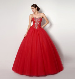 2015 Red Quinceanera Dresses with Beaded Crystal Back Corset Real Picture Vestidos de Festa Ball Gown Sweet 16 Dress