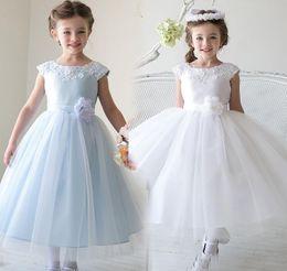 Tulle Flower Girl Dresses Crew Applique Capped Sleeve Princess Birthday Party Gowns Handmade Flower Sash Communion Dress