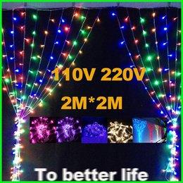 Promotion rgb led net 2mx2m 400leds Led Net Lumière Lumières rideaux de Noël Guirlande lumineuse cascade lumière mariage de lumière Led Strings Décoration de Noël lumières 110v 220v